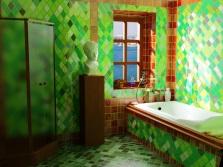 Ярко-зеленая ванная