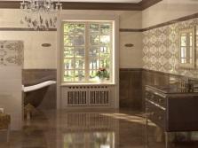 Дизайн ванной с бежевой плиткой