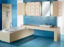 Беж и синий в ванной