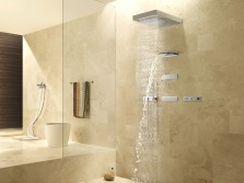 Бежевая ванная с душем