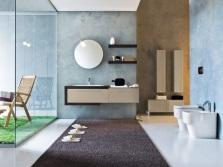 Голубо-бежевая ванная
