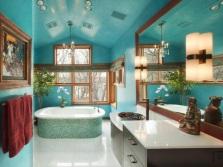 Темная бирюза в ванной