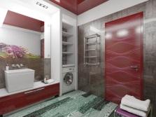 Бордовый серый в ванной