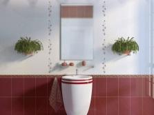 Белый и бордовый в ванной комнате
