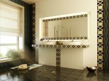 оформление ванной черной плиткой