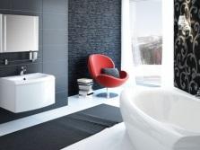 Черная ванная комната с белым