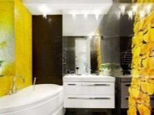 Желтая ванная с черным контрастом