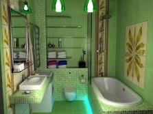 Ванная в зеленом цвете со вставками нейтральных оттенков