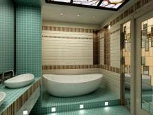 Ванная комната отделанная зеленым и бежевым цветами
