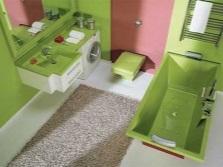 Зеленая ванна в комбинации с другими цветами