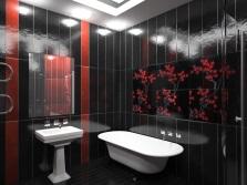 Графическая модель ванной комнаты в черном цвете