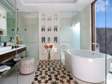 Овальная ванна в просторной ванной комнате без туалета