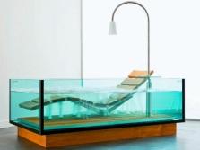 Стеклянная прямоугольная ванна