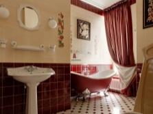 Бежево-бордовая ванная