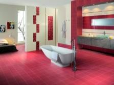 Бежево-красная ванная
