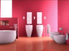 Красная ванная с розовым
