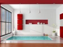 Красная мебель в ванной комнате