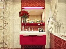 Красная ванная с бежевым