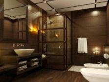 Отделка можной ванной комнаты массивом дерева