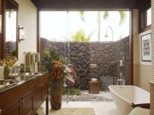 Стильная ванная комната в бежевом цвете