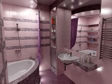 Серо-розовая ванная комната