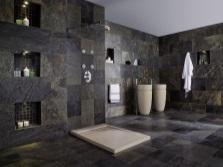 Минимализм в ванной комнате большого размера