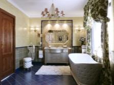 Текстиль в роскошной просторной ванной