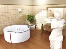 Круглая акриловая ванна с гидромассажем