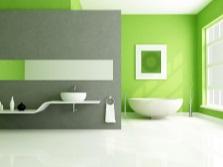 Салатовый и серый в интерьере ванной