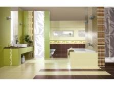 Салатово-коричневая ванная