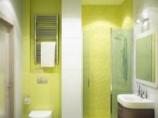 Салатовая ванная комната с белым - модерн