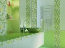 Салатовая ванная с мебелью