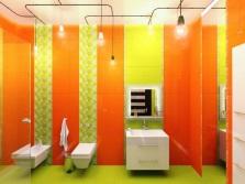 Ванная - салатовый и оранжевый
