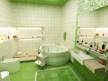 Бело-салатовая нежная ванная комната