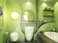 Салатовая мозаика в ванной