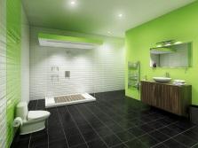 Салатовая ванная с темной мебелью