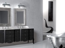 Серая ванная комната с добавлением черного