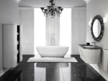 Темно-серые тона в сочетании с белым для ванной комнаты