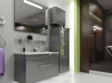 Мебель в серой ванной комнате