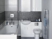 Оттенки мебели приближенные к серой ванной комнате
