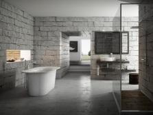 Спокойные тона серых ванных комнат