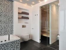 Расположение точечных светильников в серой ванной