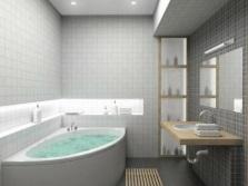 Система освещения в ванной комнате с серой отделкой