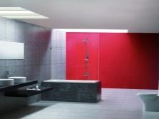 Ванная комната - белый, серый и малиновый