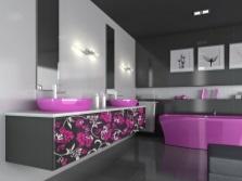 Ванная комната - белый, серый и фиолетовый