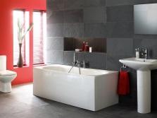 Ванная комната - белый, серый и красный