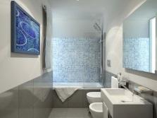 Серо-оранжевая ванная комната