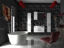 Красные акценты для серой ванной комнаты