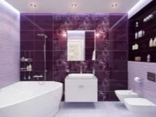 Ванная 5 кв м - отделка плиткой, зонирование