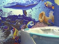 Цветовая гамма морского стиля в ванной